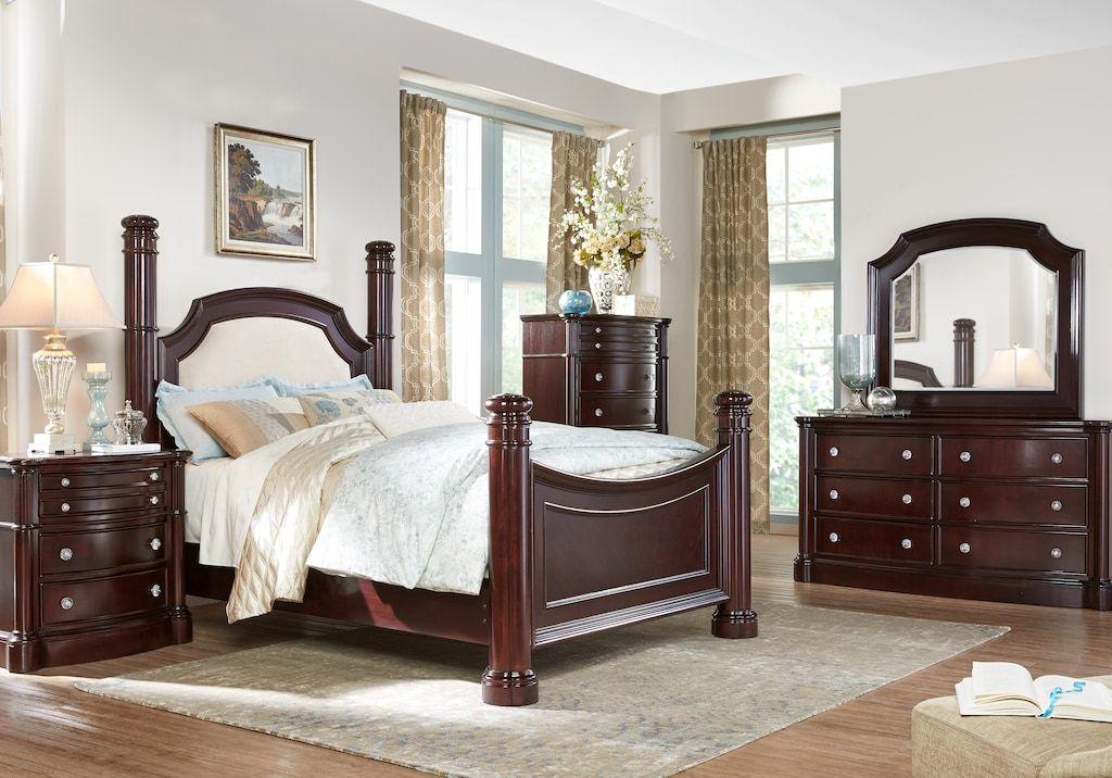 Dumont Cherry 7 Pc King Low Poster Bedroom - Bedroom Sets ...