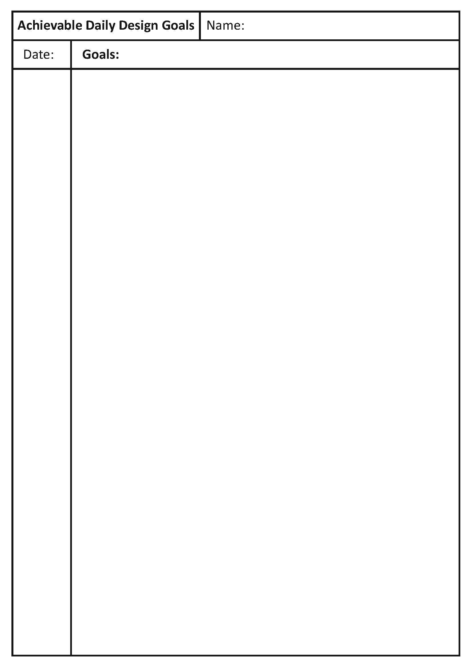 Daily Goals In Any Senior Folio Class