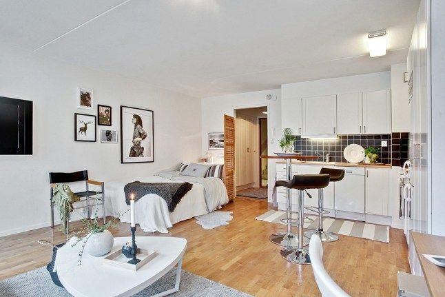 36m² pour cet appartement où la pièce unique accueille une cuisine