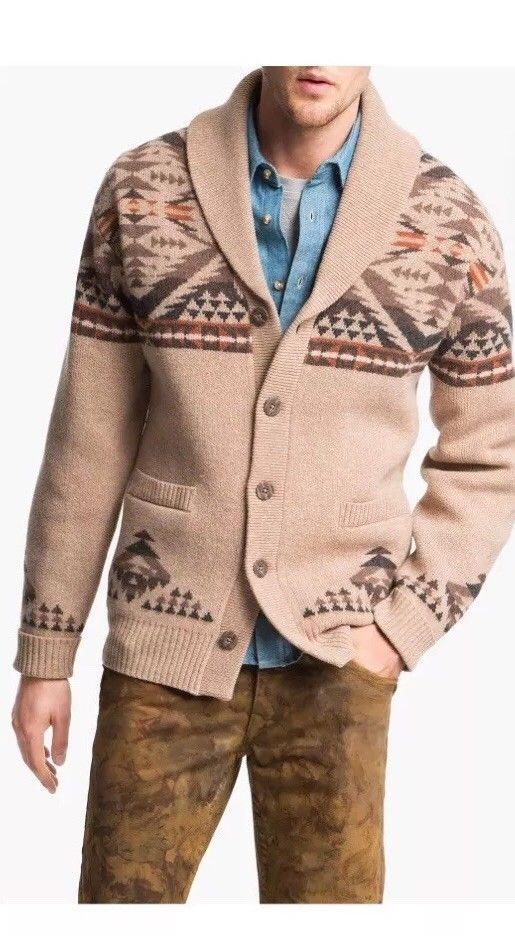 Pendleton Dimond Desert Shawl collar Cardigan Tan Sweater XXL ...