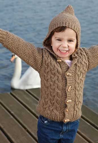 Zest is a childs unisex aran cabled hoodie cardigan knitting pattern ...