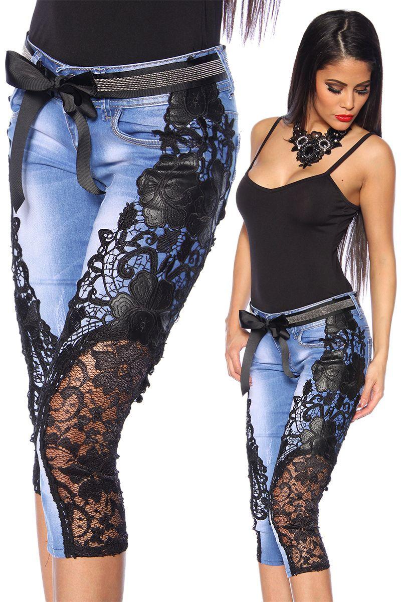 capri jeans mit spitze jeans hosen pants leggings. Black Bedroom Furniture Sets. Home Design Ideas