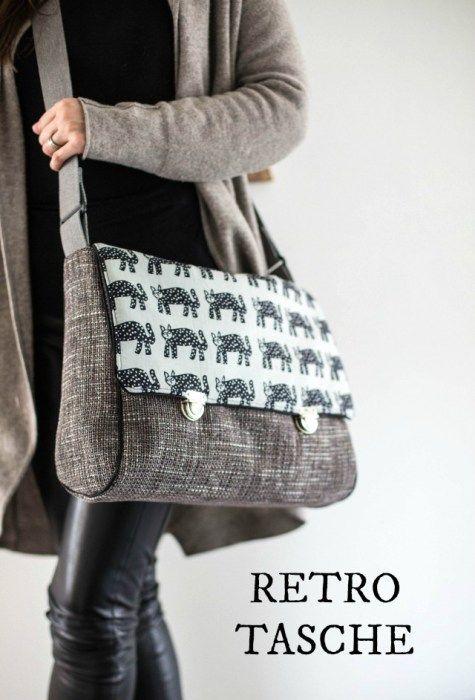 Retrotasche 1 | Лоскутные сумки | Pinterest | Taschen nähen, Nähen ...