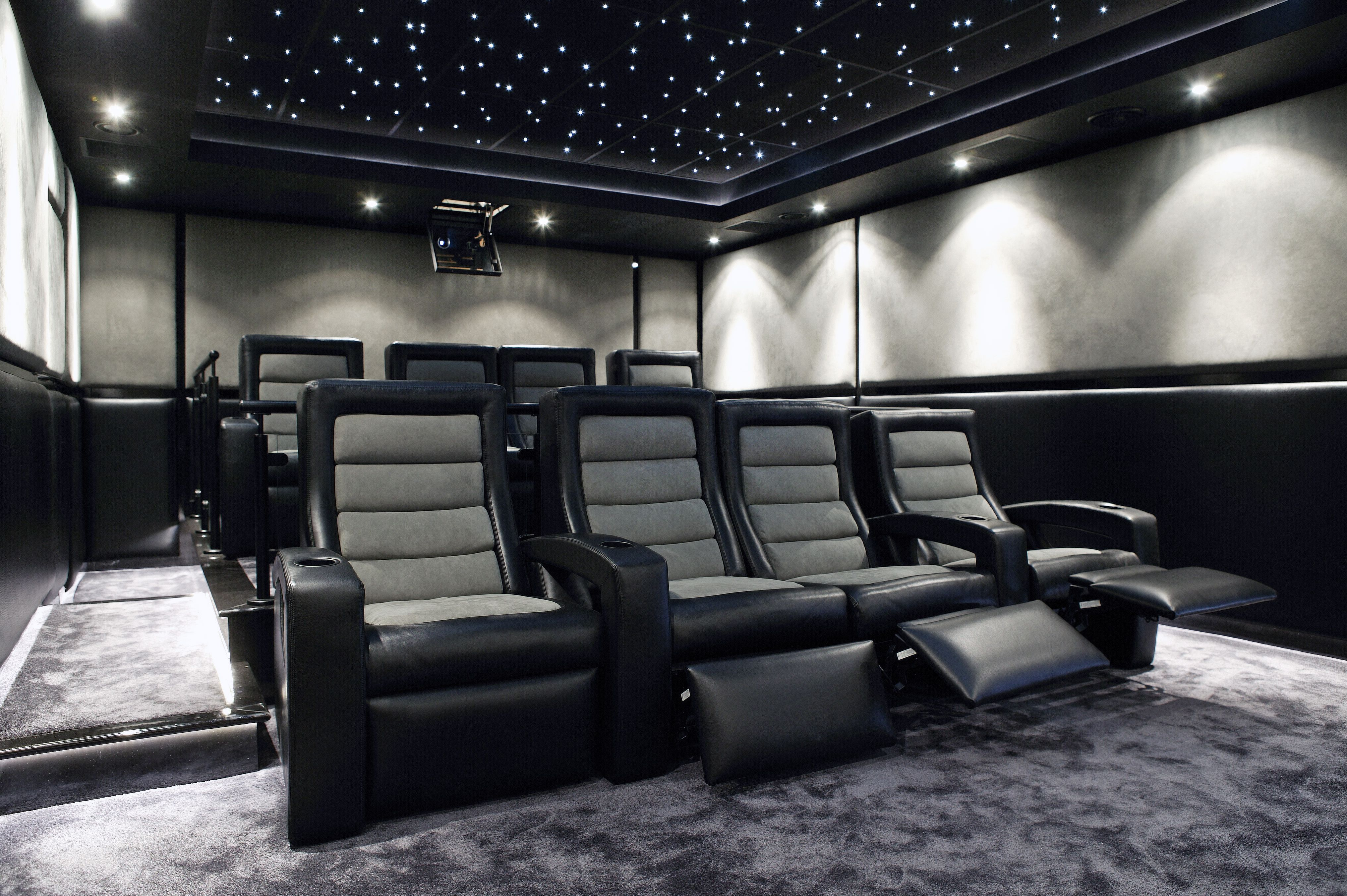 Fiber Optic Ceiling In The Theater Home Theater Rooms Home Theater Seating Home Theater Setup