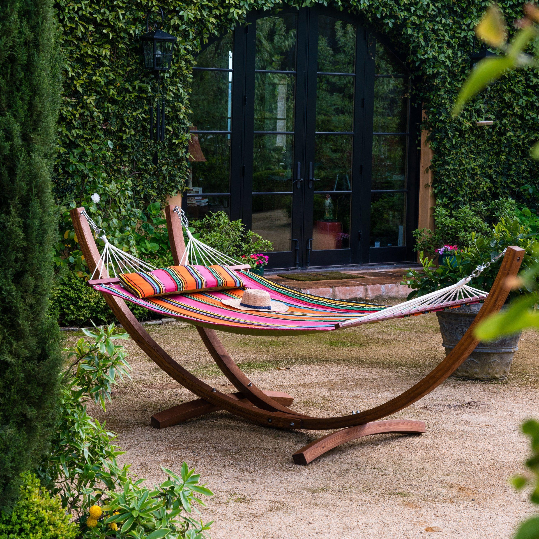 Corvus silvia outdoor sunbrella double hammock set with stand icon