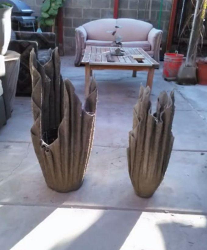 Macetas de toalla y cemento jard n pinterest cemento - Jardineras de cemento ...