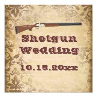 "Shotgun Wedding Brown Damask Wedding Invitations 5.25"" Square Invitation Card"