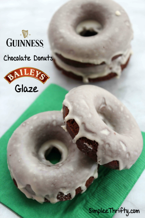 Awesome St. Patricks Day Treat! Here is a delicious recipe just in time for St. Patrick's Day! Guinness Chocolate Donuts with Baileys Glaze, yes and they are delicious. These are perfect treat for any Holiday!