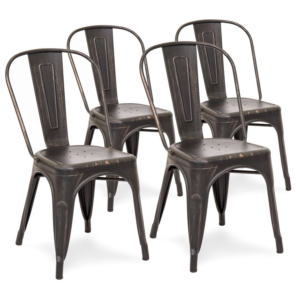 Set of 4 Industrial Metal Dining Chairs Side chairs