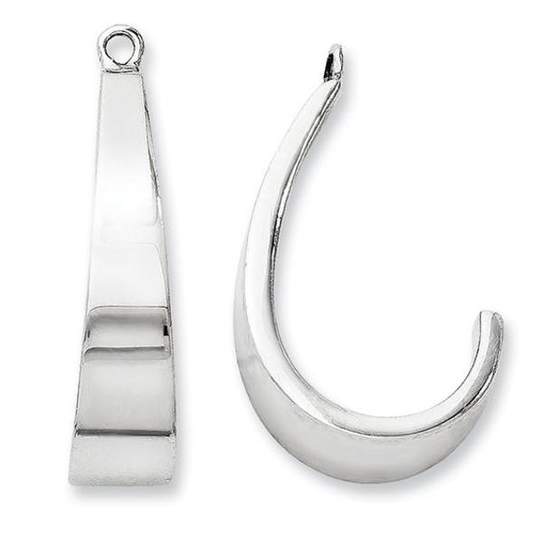 14k White Gold J Hoop Earrings Jackets
