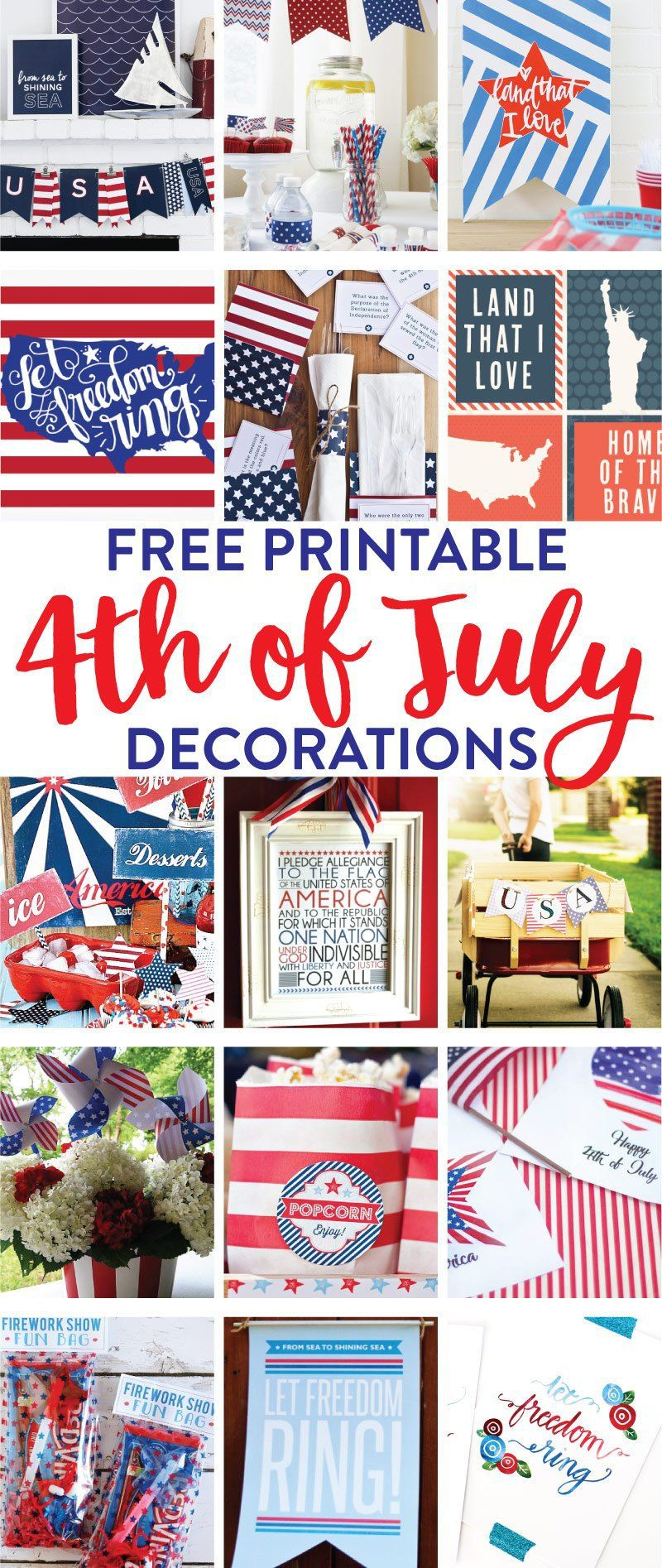 15 Free Printable 4th of July Decorations on   Pinterest ...