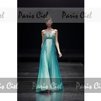 Robe de Bal Longue Verte de Jade Col en coeur en Chiffon   Paris Ciel