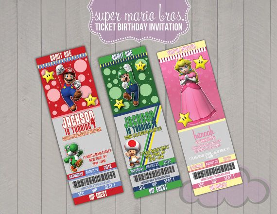 invitations for super mario bros party