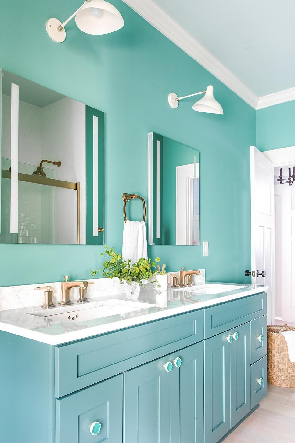 A soothing color scheme brings a fresh feel to the guest ...