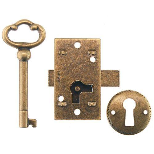 Restorers Classic Antique Brass Non Mortise Furniture Lock - Restorers Classic Antique Brass Non-Mortise Furniture Lock Antique