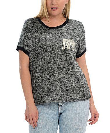 Love this Black Elephant Scoop Neck Tee - Plus on #zulily! #zulilyfinds