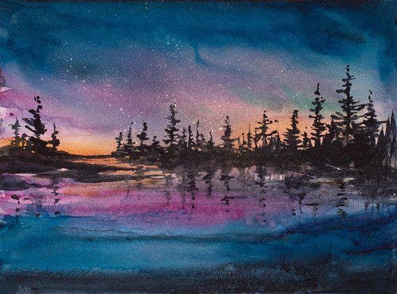 Aurora Watercolor Print Aurora Borealis Night Sky By Olliffstudio
