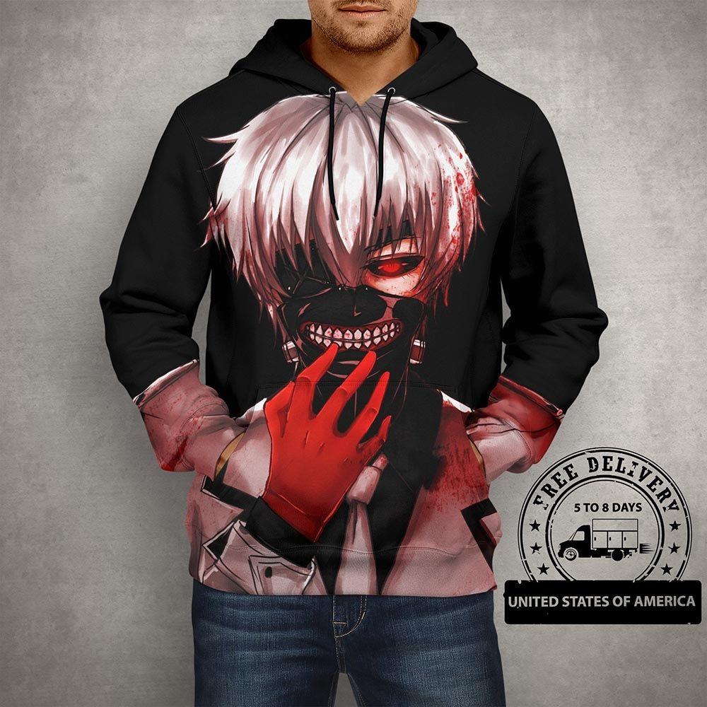 Shop Anime Tokyo Ghoul Black Hoodie 3D Printed Pullover