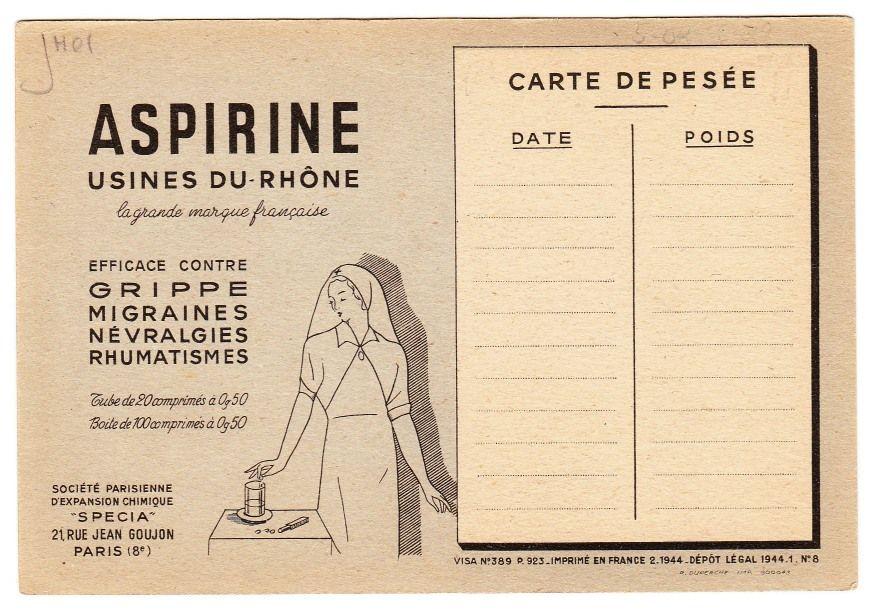 BACKSIDE French Postcard Size Trade Card, Advertising Aspirin  c. 1944