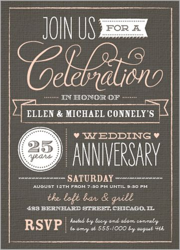 Wonderful Years Wedding Anniversary Invitation  Wedding