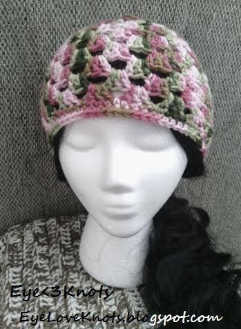 Crochet Adult Granny Square Hat in Pink Camo. FREE pattern on my blog - Eye Love Knots. Available in my Etsy shop. Size and Color is completely customizable!