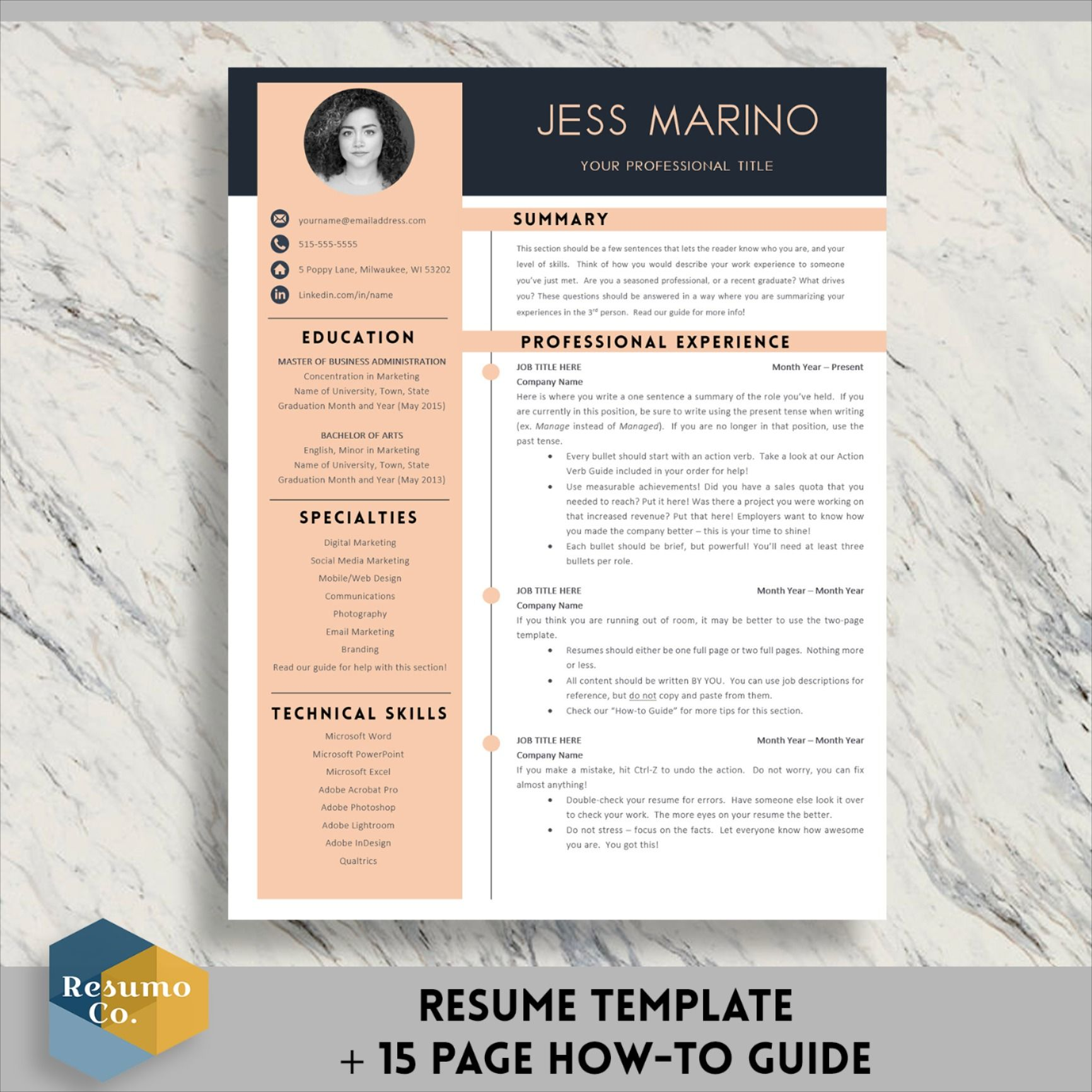Modern Resume template with Cover Letter and References