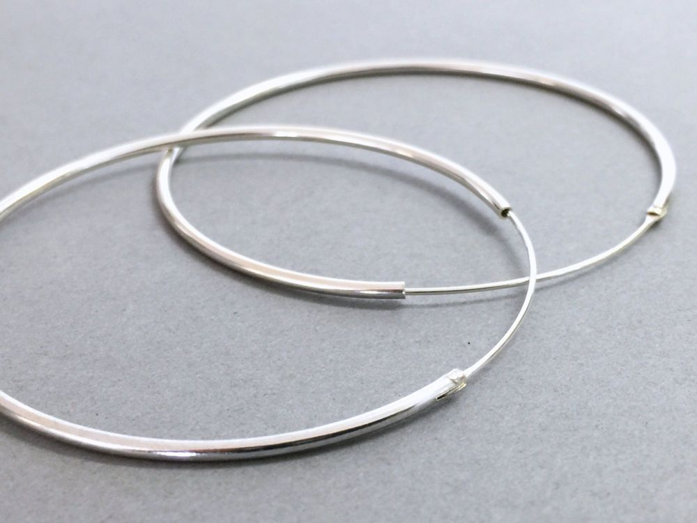 Thin Plain Round Hoops 925 Sterling Silver Hoop Earrings Tiny Small Medium Large