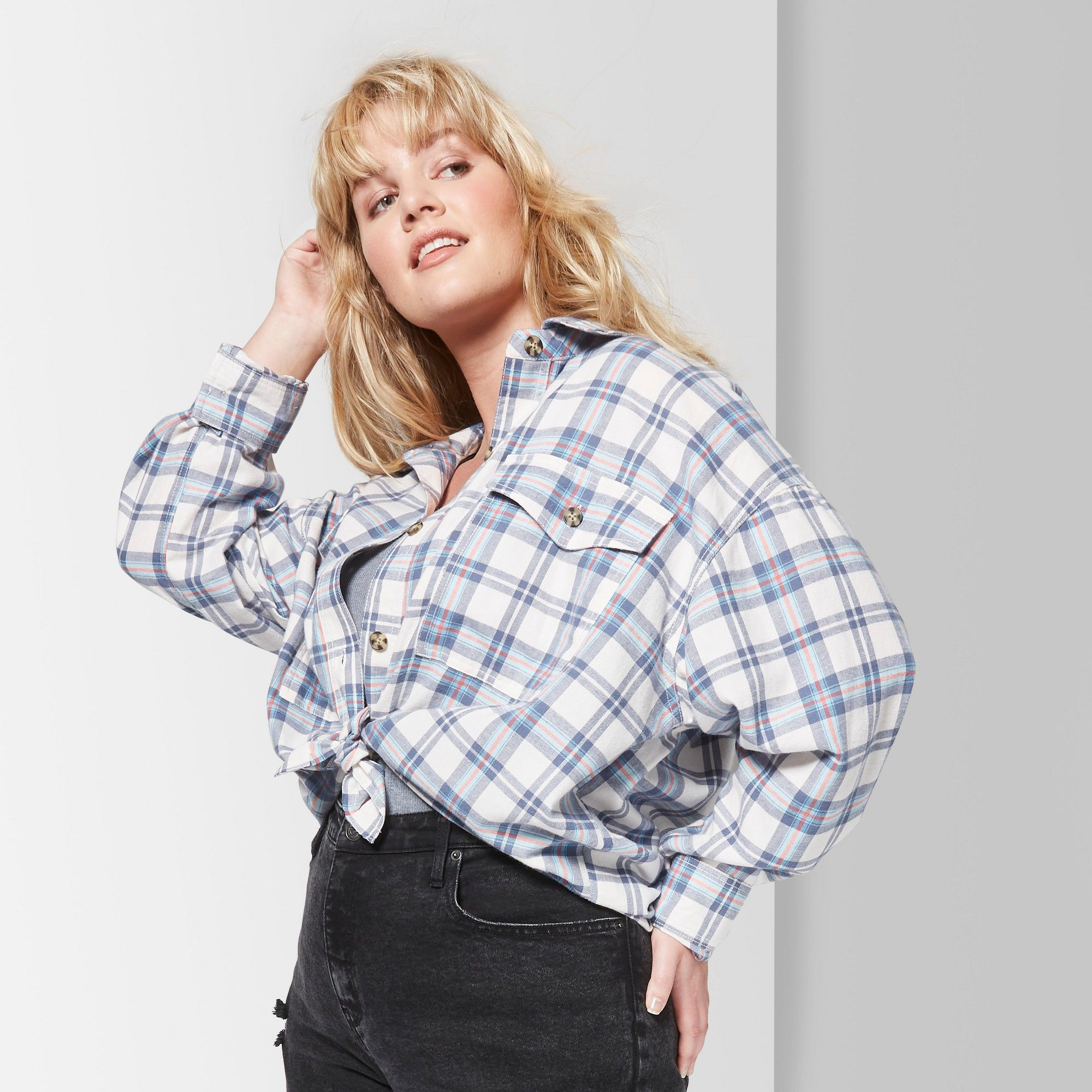 848f85ee Plus Size White Long Sleeve Button Down Shirt – EDGE Engineering and ...