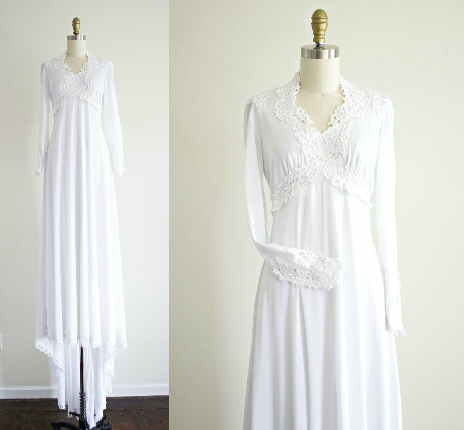 Vintage white lace bohemian wedding dress . 1970s jersey Victorian style long train empire waist wedding gown . small medium by VelvetPinVintage on Etsy