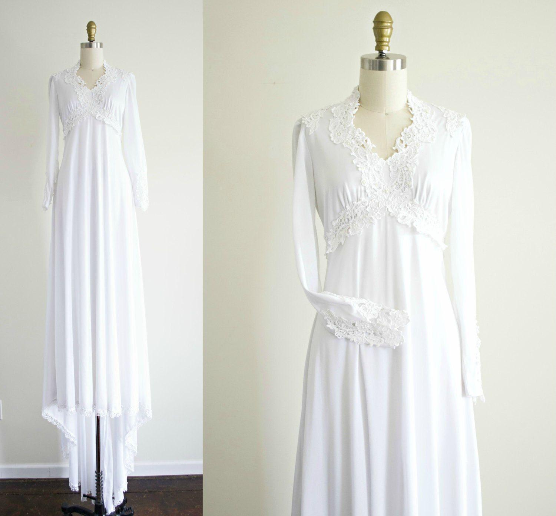 Vintage White Lace Bohemian Wedding Dress 1970s Jersey