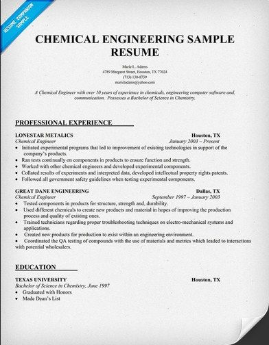Chemical Engineering Resume  HttpJobresumesampleCom