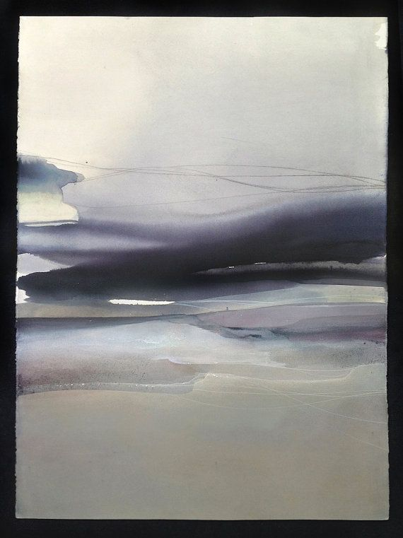 Large landscape contemporary art abstract watercolor for Minimal art landscape