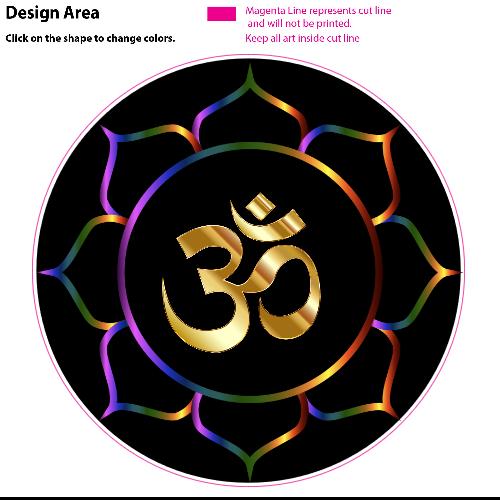 Small Spiritual Yoga Bumper Sticker Decal Om Lotus