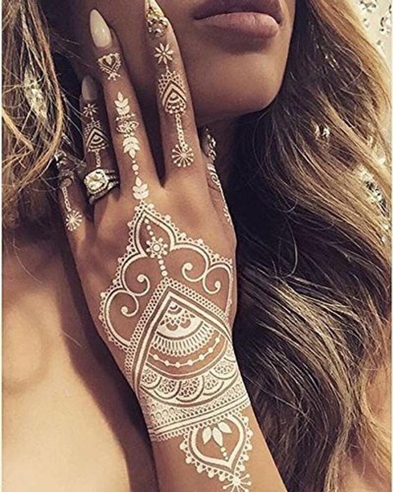 White Henna Temporary Tattoo Stickers 40 Designs In 2020 Henna Tattoo Designs White Henna Tattoo White Henna Designs