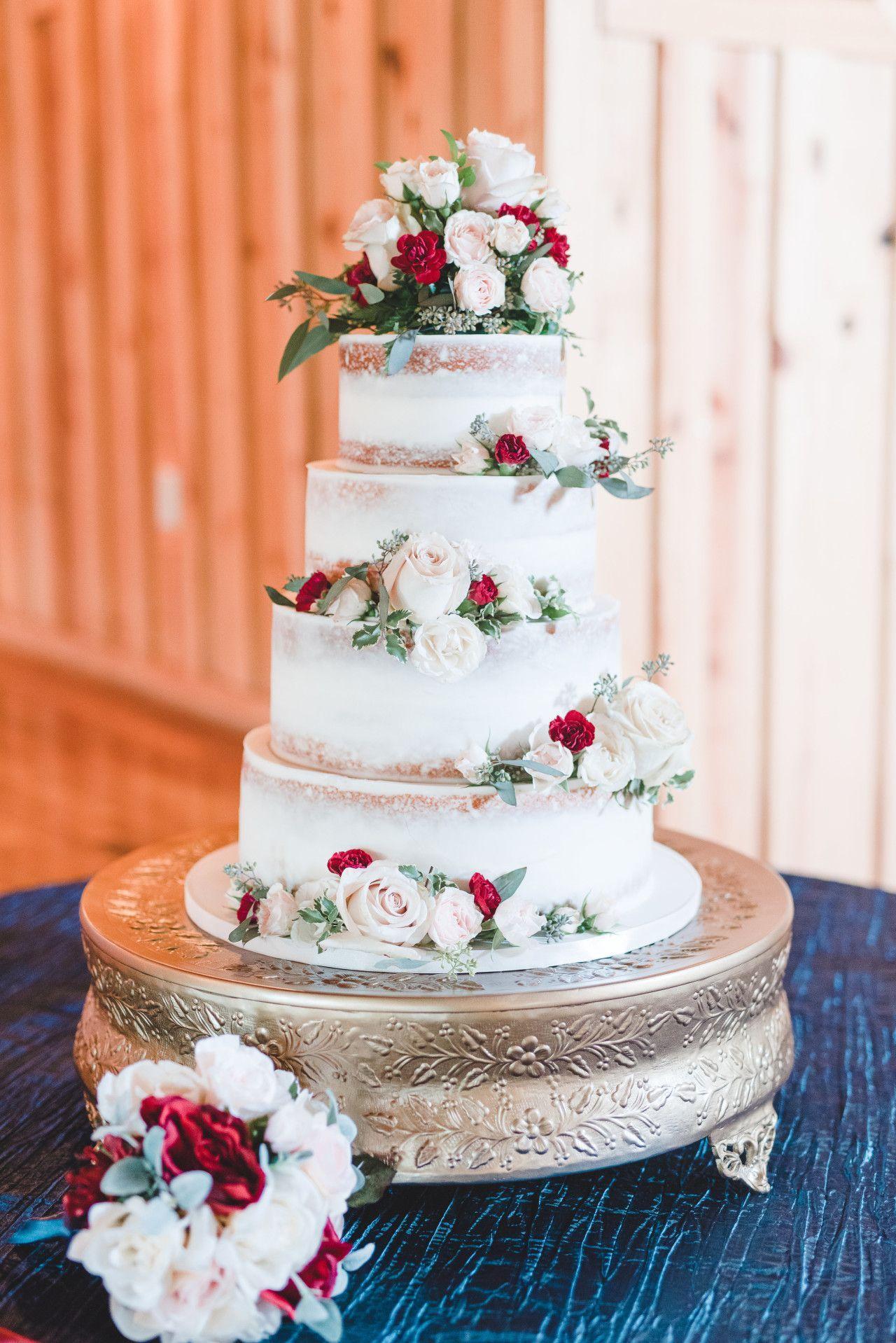 Naked Wedding Cake - Blush Pink Naked Wedding Cake -