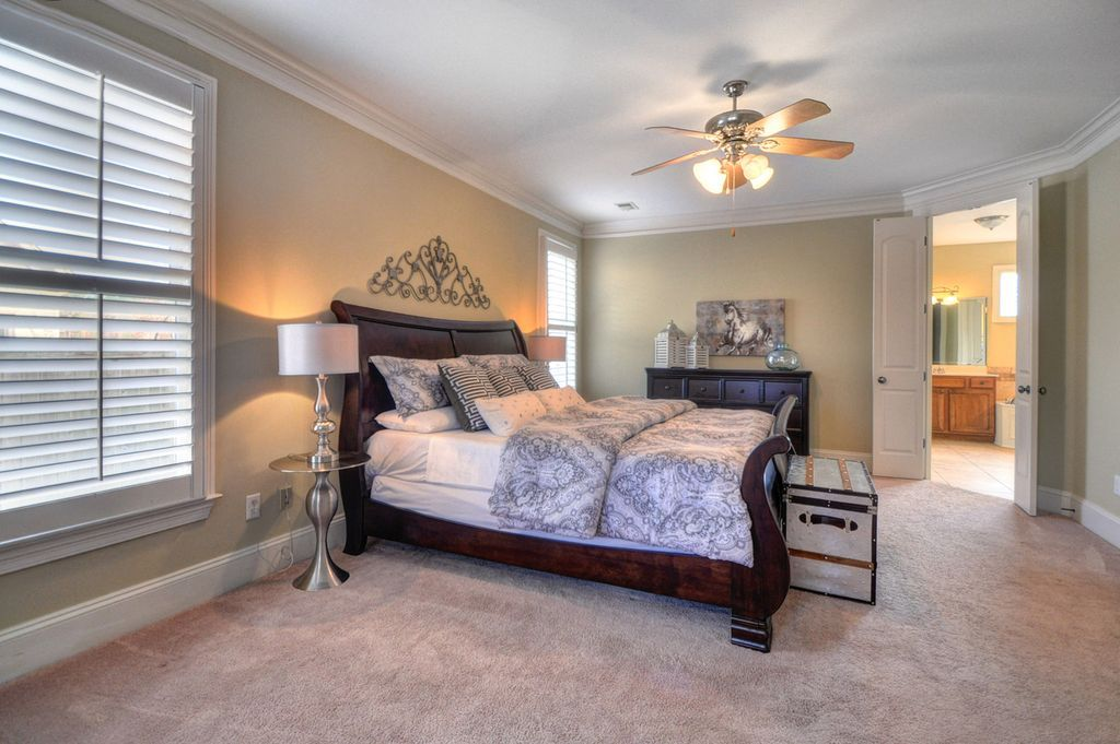 Transitional Master Bedroom with flush light, High ceiling
