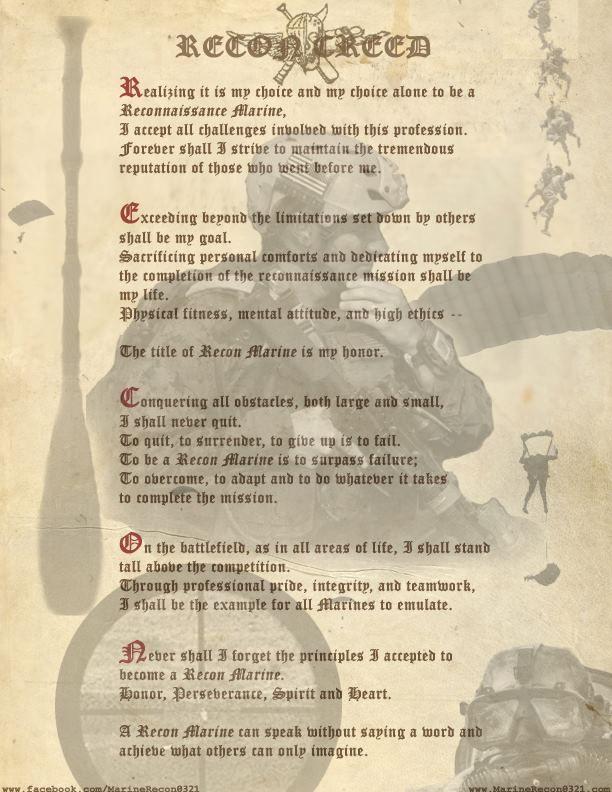 The Recon Creed Learn it for BRC | SPEC OPS | Pinterest | Marine ...