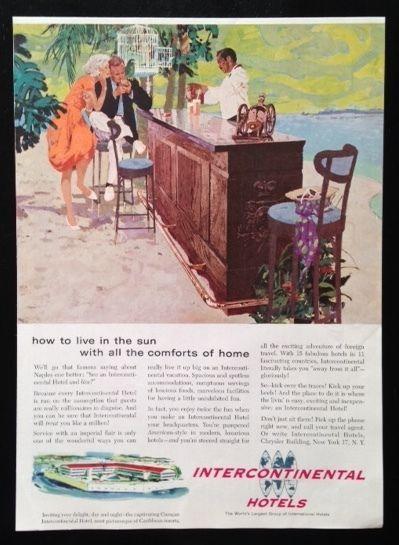 1959 Intercontinental Hotels Curacao Caribbean Resorts Travel Vintage Print Ad Ebay