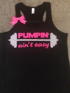 Pumpin' ain't easy - Black - Racerback Tank - Neon Tank - Fitness Tank – Ruffles with Love #workout #workouttank #womensfitness