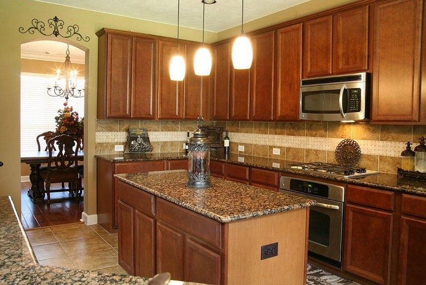 New Venetian Gold Granite With Honey Oak Cabinets Gallery