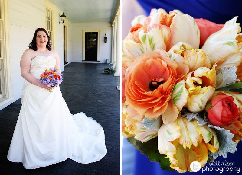 Bride At Porch Lyman Estate