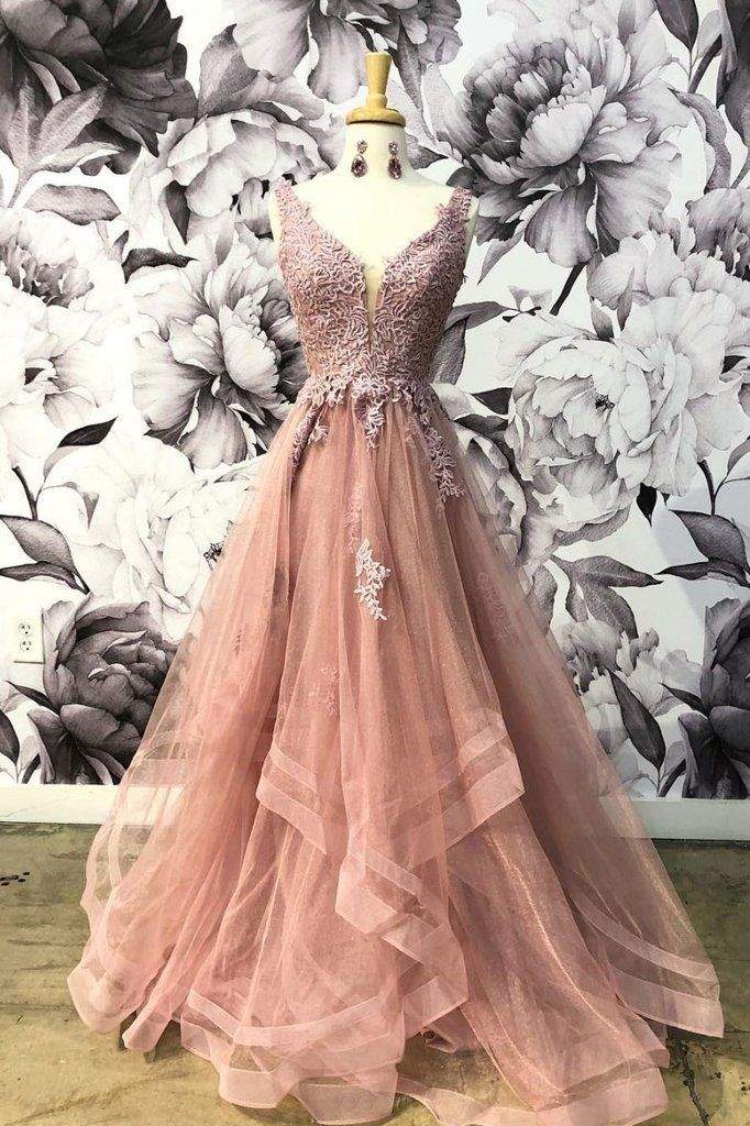 Unique Champagne Pink Tulle V Neck Lace Halter Prom Dress, Lace Up Homecoming Dress #eveningdresses – Dress