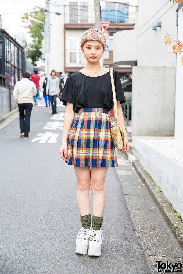 529a36d73 Cute Short Hair, Uniqlo Tee, Plaid Skirt, Vivienne Westwood & Tokyo Bopper