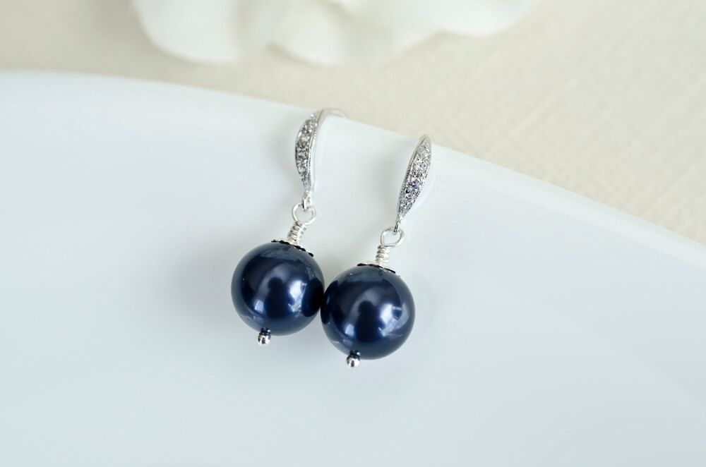 Bridesmaids Navy Blue Swarovski Pearl Earrings in Sterling Silver by CrinaDesign73 on Etsy https://www.etsy.com/ca/listing/96718796/bridesmaids-navy-blue-swarovski-pearl