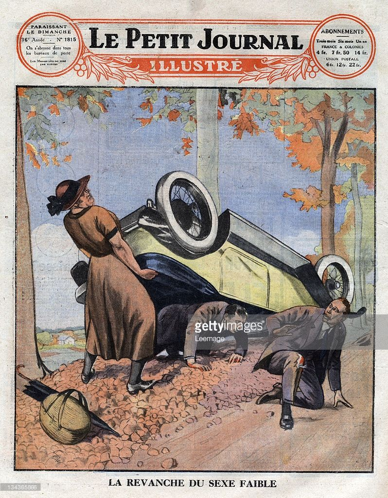 Ilustración de stock : Exceptionally strong woman lifting a crashed, upside down-car, in order to free two men trapped in the passenger…