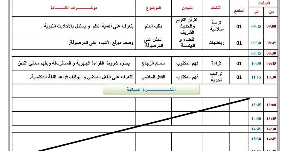 نموذج لكراس يومي للسنة الرابعة ابتدائي الجيل الثاني Education Generation Primary