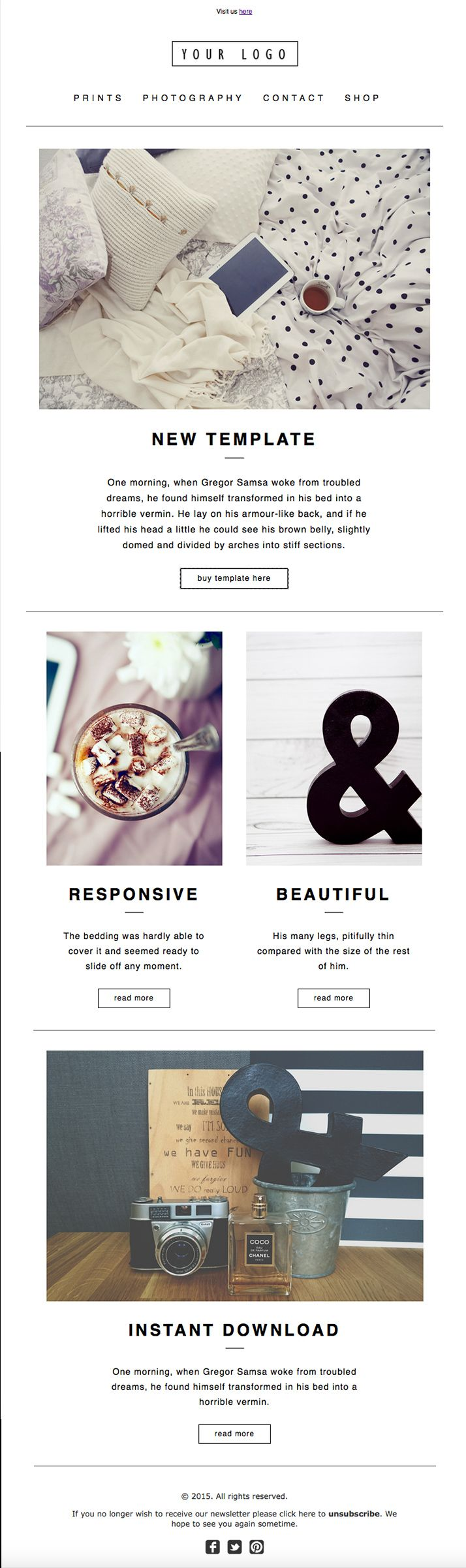 Modern E-Newsletter Template Design. HTML coded, Mailchimp compatible, fully customizable.