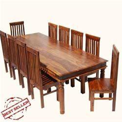 Round Table Lincoln.Rustic Lincoln Study Large Dining Room Table Chair Set For 10 People