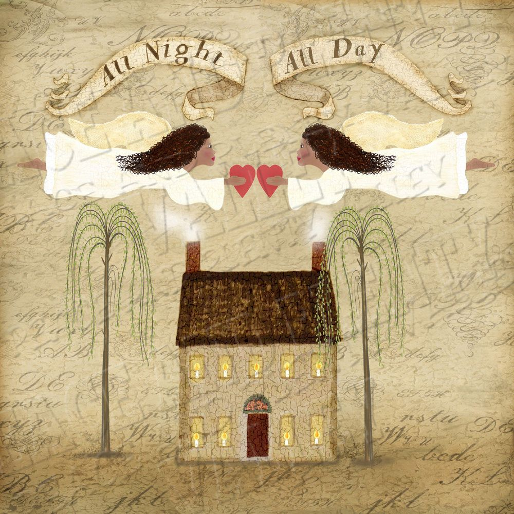 Good Last Minute Wedding Gifts: Angels Inspirational Primitive Folk Art * Instant