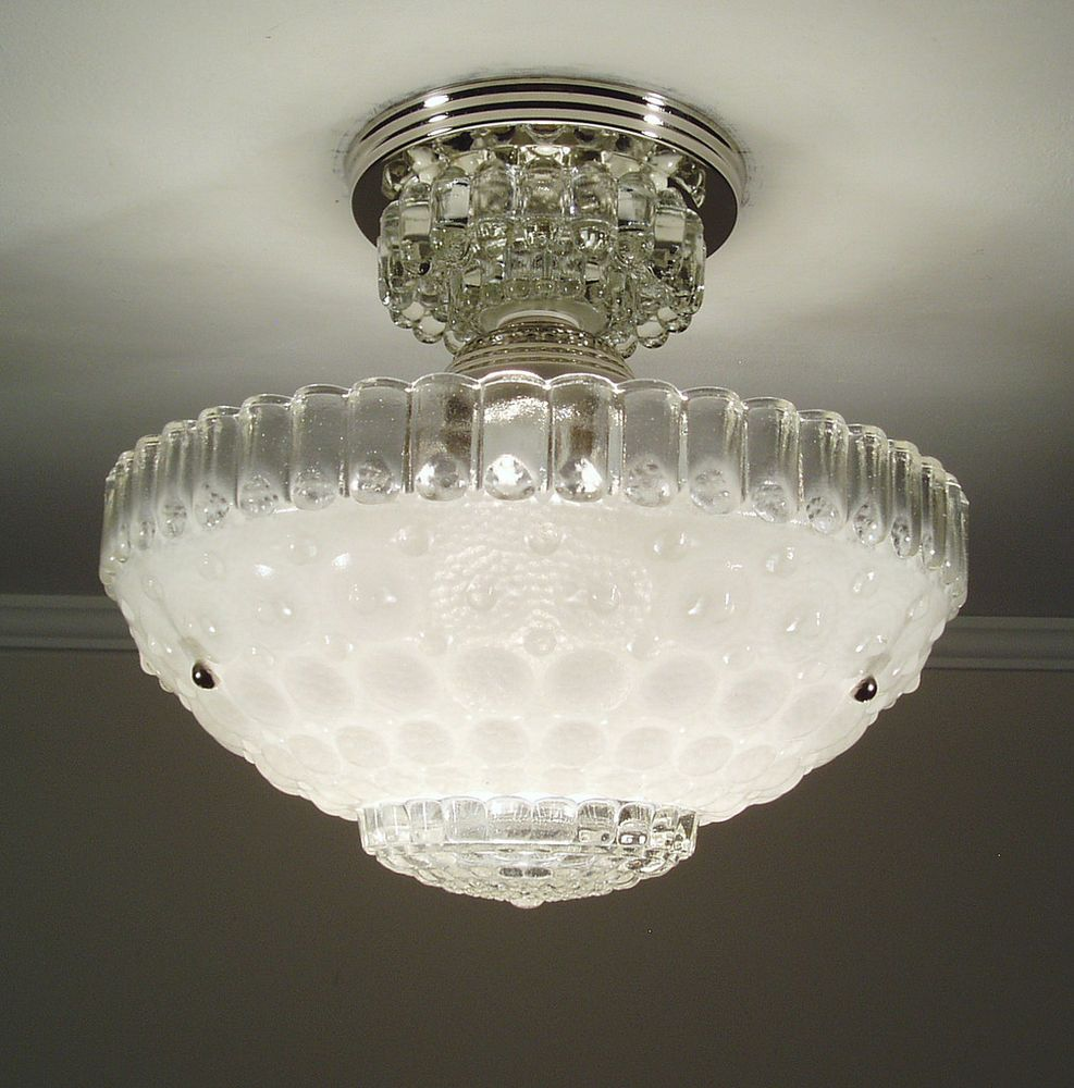 1930s vintage white art deco bubble glass ceiling light fixture with new wiring